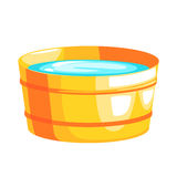 Brass Bucket Filled With Water, Part Of Russian Steam House Series Of Flat Funny Cartoon Illustrations Royalty Free Stock Photography