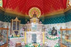 Brass buddha statue in buddhist pagoda Royalty Free Stock Photo