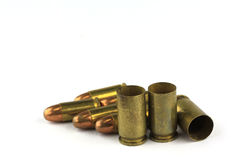 Brass bullet shells, 9 size Royalty Free Stock Image