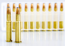 Brass bullets for a hunting rifle Royalty Free Stock Images