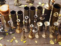 Brass Candle Holders Royalty Free Stock Photography