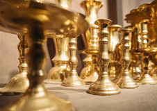 Brass Candle holders Vintage decoration object Stock Image