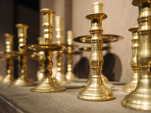 Brass Candle holders Vintage decoration Royalty Free Stock Photos