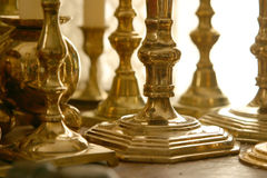 Brass candlesticks. Close-up image of a set of classic brass candlesticks Royalty Free Stock Photos