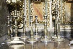 Brass candlesticks stock images