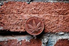 Brass Cannabis coin Stock Photos