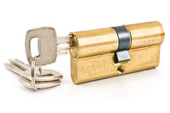 Brass cartridge cylinder with keys Royalty Free Stock Images