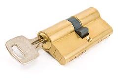 Brass cartridge cylinder with keys Stock Image