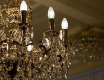 Brass chandelier with crystal. Royalty Free Stock Photo