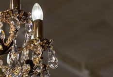 Brass chandelier with crystal. Stock Photos