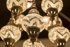 Brass chandelier with crystal. Stock Image