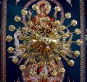 Brass chandelier inside a church Royalty Free Stock Photos