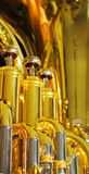 Brass and chrome on euphonium Royalty Free Stock Images
