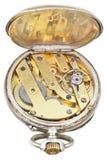 Brass clockwork of vintage silver pocket watch Stock Photos