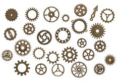 Brass cog wheels isolated on white background Royalty Free Stock Image