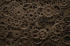 Brass cog wheels, steampunk background. Texture with copy space stock photos