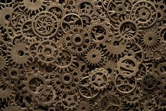 Brass cog wheels, steampunk background. Texture with copy space royalty free stock photo