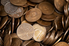 Brass coins. A collection of brass coins from different countries Stock Photography