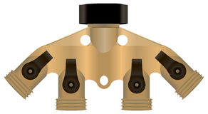 Brass collector. For connecting hoses. Vector illustration Royalty Free Stock Photo