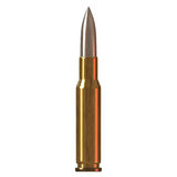Brass colored gun bullet. Close up Royalty Free Stock Images