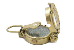 Brass compass. Old brass compass on a white background Royalty Free Stock Photography
