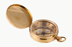 Brass Compass. Isolated Brass Compass Royalty Free Stock Image