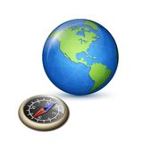 Brass Compass and Earth Stock Photo