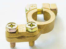 Brass connector for use in electrical connection Royalty Free Stock Photography