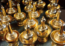 Brass container Buddhist art Royalty Free Stock Images