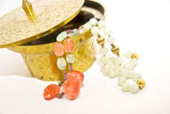 Brass Container/Costume Jewelry Stock Images
