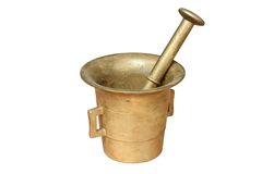Brass container on white Stock Photos