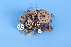 Brass cooper bronze metal scrap clock mechanism gears for recycling Stock Photography