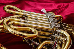 Brass cornet. Medium-sized wind instrument. Symphonic Band Royalty Free Stock Photo