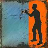 Brass Cornet Player. Illustration of a Cornet player over a grunged background Royalty Free Stock Photography