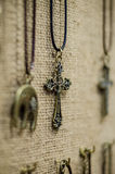Brass cross necklace. Royalty Free Stock Image