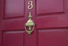 3 brass Door Furniture stock image
