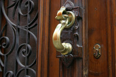 Brass Door Knocker. Ornate Brass Door knocker on wooden door stock image