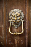Brass Door Knocker on Wooden Door. Brass Door Knocker on Old Wooden Door Royalty Free Stock Photography