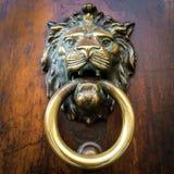 Brass door knocker on wooden door Stock Image