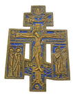 Brass and enamel crucifix Stock Image