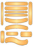 Brass Engraving Banner Plates. Vector Illustration of several different styled blank brass plates for engraving Stock Images