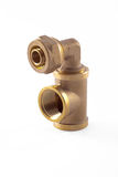 Brass equal tee with a brass elbow Stock Photos
