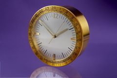 Brass executive alarm clock Royalty Free Stock Photo