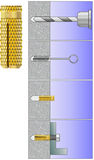 Brass expansion anchor installation schema. Engineering drawing of the process of mounting brass expansion anchor to the concrete wall stock illustration