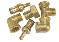 Brass fitting for plumbing Royalty Free Stock Photography