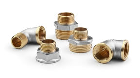 Brass fittings for pipes isolated Stock Photo