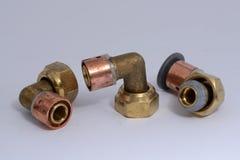 Brass fittings Stock Photo