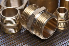 Brass Fittings for Water and Gas Stock Image
