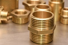 Brass Fittings for Water and Gas Stock Photos