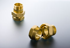 Brass fittings Stock Photo
